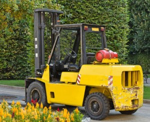 Forklift next to some flowers in the city