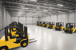3d rendering forklift trucks in factory
