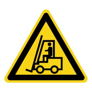 Forklift truck sign. Symbol of threat alert. Hazard warning icon. Black lift-truck with the silhouette of a man emblem isolated in yellow triangle on white background. Danger label. Stock Vector