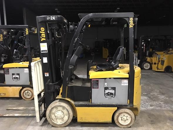 Yale Forklifts ERC050VG 5000lb Electric Sit Down Rider 4 Wheel Quad Mast Forklift 2013