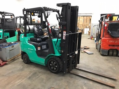 Mitsubishi Forklifts FGC25N 5000lb Cushion/Solid Tire Propane Fuel LPS Rated Warehouse Forklift 2013