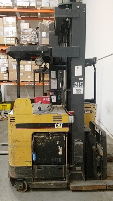 Caterpillar Forklifts NRDR30 Electric 3000lb Stand Up Rider Narrow Aisle Double Reach Forklift 2003