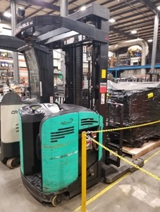 Mitsubishi Forklifts EDR15N Electric Stand Up Rider 3000lb Double Reach Narrow Aisle Forklift 2006
