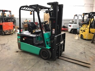Mitsubishi Forklifts FB18KT 3-Wheel Electric 3500lb Sit Down Rider Narrow Aisle Forklift 2007