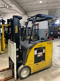 Yale ESC040ADN36TE084 electric 4000lb stand up rider end control counterbalanced narrow aisle forklift.