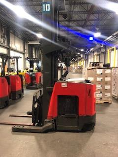 Raymond 740DR32TT electric 3200lb stand up rider narrow aisle double reach forklift