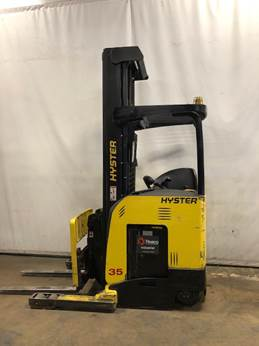 Hyster N35ZDR electric stand up rider narrow aisle 3500lb double reach warehouse forklift.