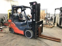 Toyota 8FGCU35 4 ton, cushion solid tire 8,000lb propane fuel warehouse style forklift.