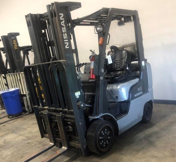 Nissan CF50LP 5000lb cushion/solid tire propane fuel indoor warehouse forklifts.