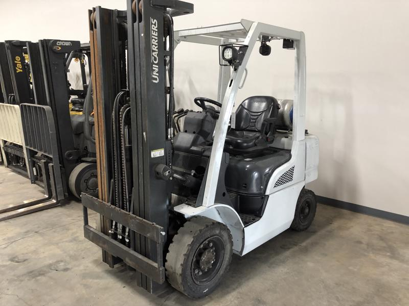 UniCarriers Nissan PFU50LP pneumatic tire 5000lb outdoor use propane fuel forklifts.