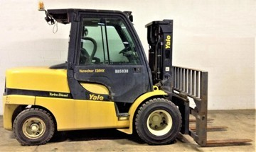 2015 Yale GDP120 pneumatic tire diesel fuel 12,000lb 6 ton outdoor forklift