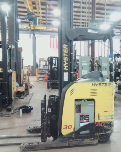 Hyster N30ZDR2 electric stand up rider 3000lb narrow aisle double reach warehouse forklift.
