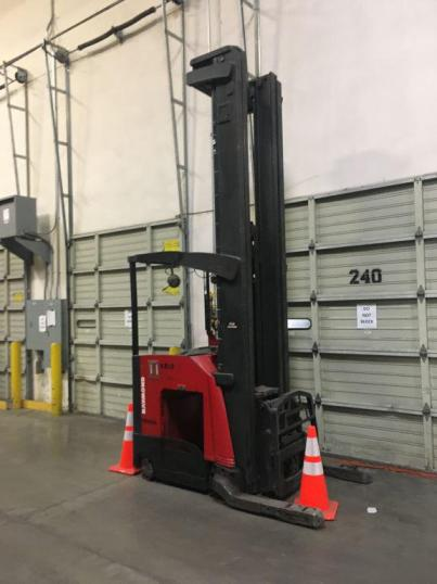 Raymond 740DR32TT electric narrow aisle 3200lb stand up rider double reach forklift.