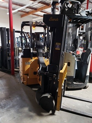 Landoll Bendi B40/48E180D electric sit down rider very narrow aisle 4000lb articulating side loading warehouse cushion tire forklift.