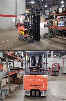 Toyota 7FBEU20 electric narrow aisle 3 wheel sit down rider 4,000lb warehouse forklifts