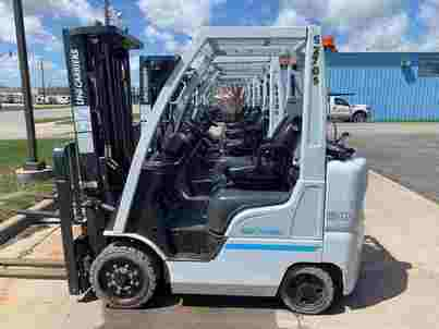Nissan Unicarriers CF50 5000lb cushion solid tire propane fuel warehouse forklift.