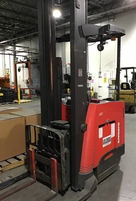 Raymond 750DR32TT electric narrow aisle stand up rider 3200lb double reach forklift