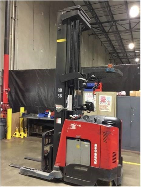 Raymond 750DR32TT narrow aisle 3200lb electric stand up rider double reach warehouse forklifts.