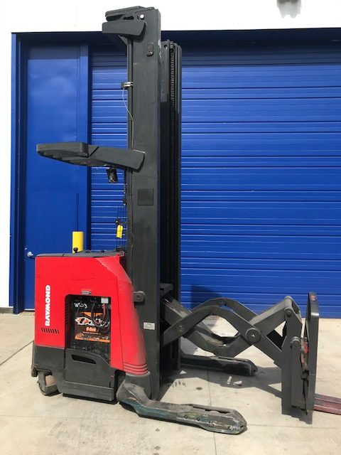 Raymond 750DR32TT narrow aisle electric stand up rider 3200lb double reach warehouse forklift.