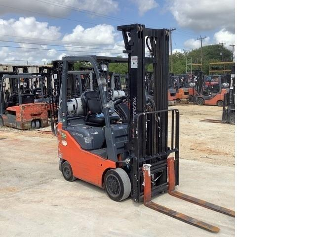 Toyota 8FGCU15 3000lb solid press on cushion tires indoor warehouse forklift on propane fuel.