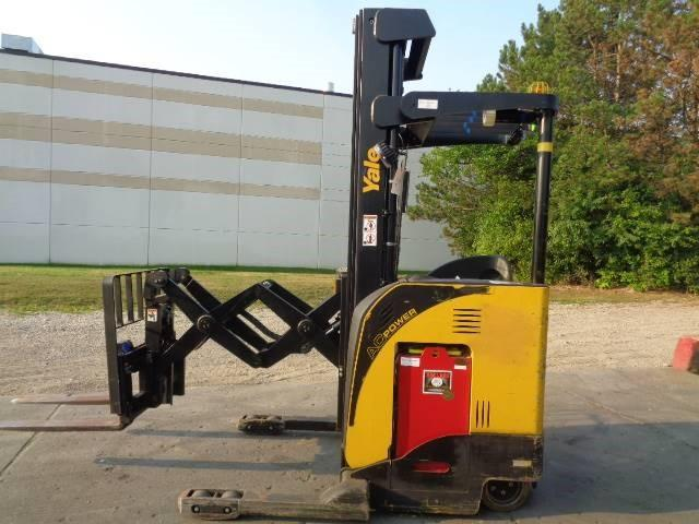 Yale NDR030 electric stand up rider narrow aisle 3000lb double reach warehouse forklift.